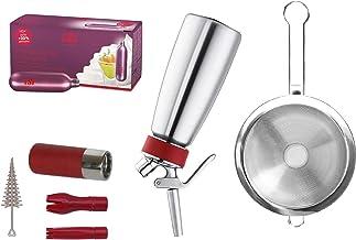 iSi Gourmet - Whip de acero inoxidable (0,5 l, incluye 3 boquillas y soporte para cápsulas, 6 embudos y colador extraíble y 24 cápsulas desechables de nata.