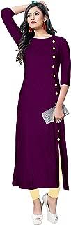 BELOMODA Multi Color Rayon Fabric 3/4 Sleeve Round Neck Solid Plain Kurti for Women