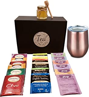 Variety Tea Gift set- Includes Double Insulated cup, 18 Flavors of Tea and a Honey Jar with Wooden Dipper (Rose Gold)