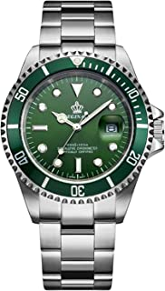 Whatsko REGINALD Men's Luminous Watch Rotatable Bezel Sapphire Glass Green Dial Stainless Steel Quartz Watches 40mm