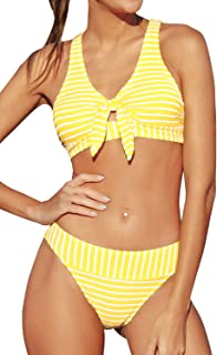 Women's Yellow Striped Front Knotted Middle Waisted Bikini Sets