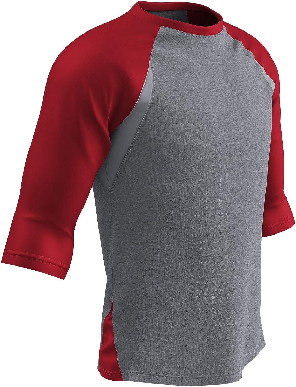 CHAMPRO Extra Innings 3//4 Sleeve Baseball Shirt; XL; Grey