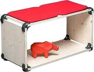 PlayWood kit multifuncional, asiento componible en madera clara, con conector provisto de tornillo de acero inoxidable. Medidas 80x42x35cm (Verde)