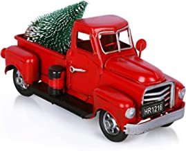 AerWo Christmas Vintage Red Truck with Mini Christmas Trees for Christmas Table Decoration