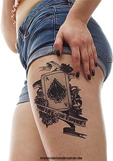 1 x Poker XL Tattoo - Ass Pik Card dobbelsteen - Zwarte Body Tijdelijke Tattoo - LC305 (1)