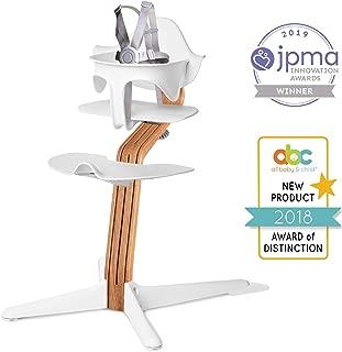 Nomi High Chair, White – Premium Natural Oak Wood, Modern Scandinavian Design with a Strong Wooden Stem, Baby through Teenager and Beyond with Seamless Adjustability, Award Winning Highchair