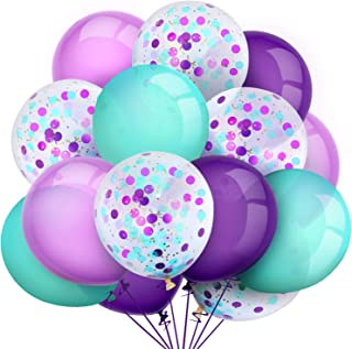 80 Pieces Mermaid Aqua Turquoise Latex Balloons Confetti Balloons Colorful Party Balloons for Christmas Halloween Valentine's Day St. Patrick's Day, 12 inch (Purple, Light Purple, Seafoam Blue)