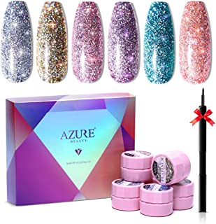 Azure Beauty Glitter Gel Nail Polish 6 Colors Set + Painting Pen, Super Shiny Platinum Gel Polish Soak Off UV LED Nail Gel Nail Art 5ML