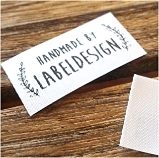 """Qty 100 Iron on Clothing Label Sewing Custom Name tag Leaf Frame Design Handmade Business Text Logo Personalized Soft Satin Ribbon Waterproof Washable Label Size 1.2"""""""
