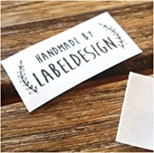 Qty 100 Iron on Clothing Label Sewing Custom Name tag Leaf Frame Design Handmade Business Text Logo Personalized Soft Satin Ribbon Waterproof Washable Label Size 1.2