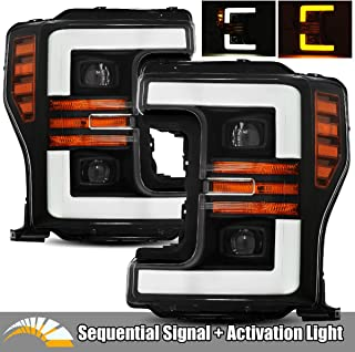 AlphaRex Black For 17-19 Ford F250/F350/F450/F550 Super Duty Halogen Type LED Tube Dual Projector Headlights with Switchback DRL/Sequential Signal/Activation Light