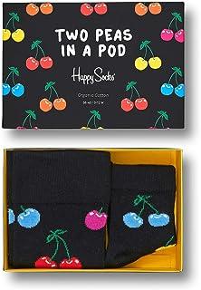Happy Socks, Padres y Bebé 2 Pair Rayas a Conjunto Dos Guisantes en un Vaina Calcetines en Caja de Regalo