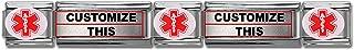 Customized Medical Alert Links - Stainless Steel Italian Modular Charm Link Style