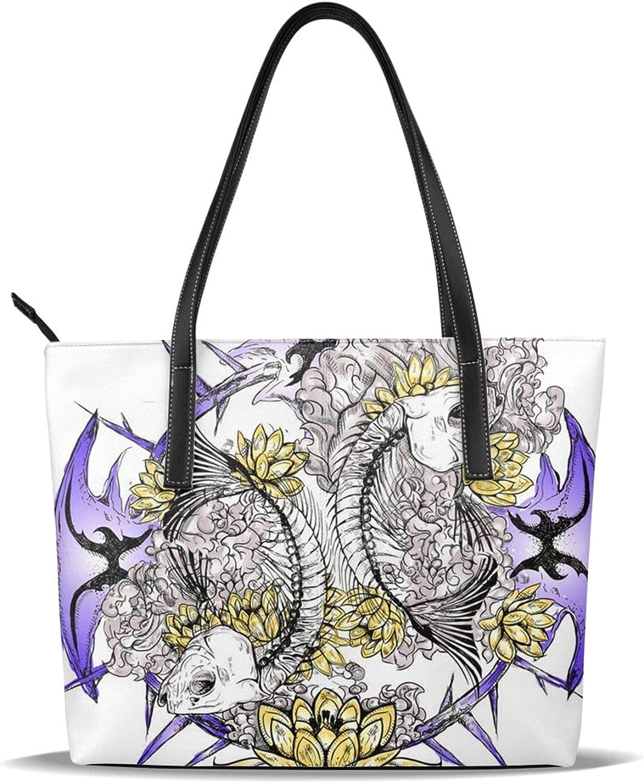 Skull Fish Print Handbag,Microfiber Leather Women Leather Tote Shoulder Bags Handbags