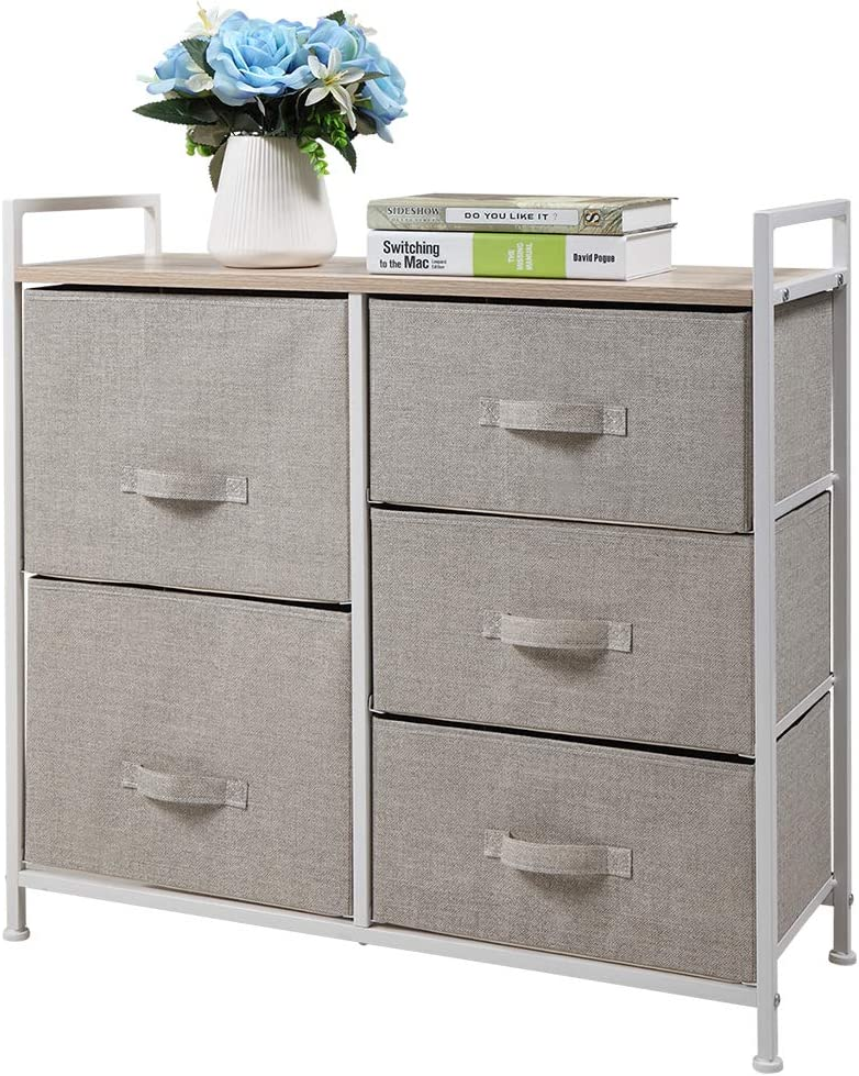 JAXPETY overseas 5-Drawer Popular product Fabric Dresser Storage 3-Tier Organizer Tower