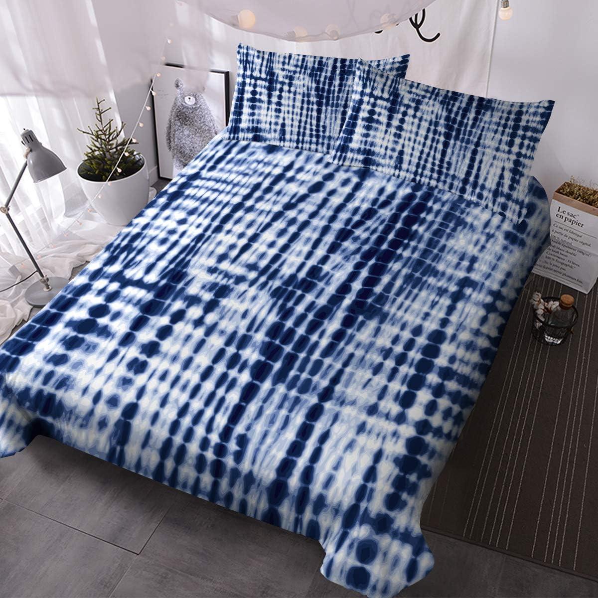 Blessliving 3 Piece Blue Tie Dye Cheap bargain Bedding Bed Topics on TV Ethnic Retro 3D Set