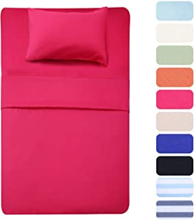 3 Piece Bed Sheet Set (Twin,Hot Pink) 1 Flat Sheet,1 Fitted Sheet and 1 Pillow Cases,100% Super Soft Brushed Microfiber 1800 Luxury Bedding,Deep Pockets &Wrinkle,Fade Resistant by Best Season