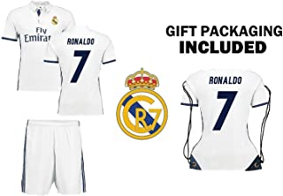 Ronaldo #7 Real Madrid Home Kids Soccer Jersey Kit with Free Shorts Youth Sizes