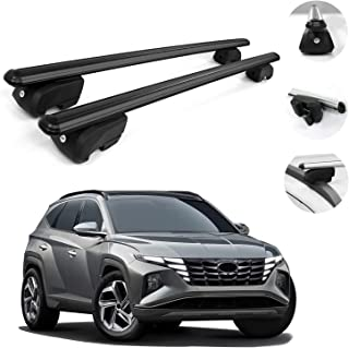 Roof Rack Cross Bars Lockable Luggage Carrier Fits Hyundai Tucson 2021-2022 | Black Aluminum Cargo Carrier Rooftop Luggage...