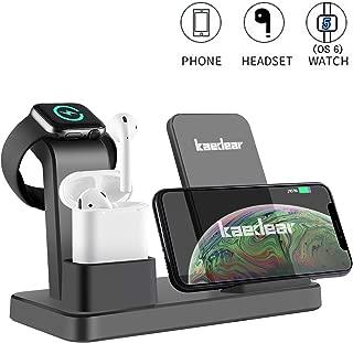 Kaedear(カエディア)【最新iphone11(OS13)/watch5(OS6)】アップルウォッチ 充電 スタンド qi ワイヤレス 充電器 3in1 iphone 11 x xs xr 8 (OS13) applewatch series 5 4 3 2 1 (OS6) airpods 3台 置くだけ 充電 スマホ 急速 高速 QC3.0 / 2.0 一体型 iPhone Galaxy Xperia android その他 QI対応機種(グレー)