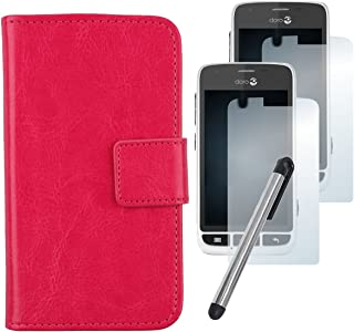 Gukas Design 4in1 Set Rose Color PU Leather Case For Doro Liberto 820 Mini Protection Cover Skin Wallet Flip Card Slots With Screen Protector Clear HD Film Touch Stylus Capacitive Pen