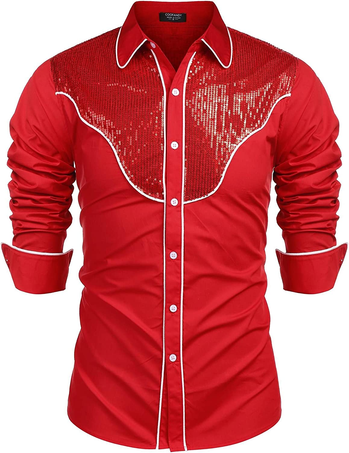 COOFANDY Men's Sequin Embroidered Western Shirts Long Sleeve Slim Fit Casual Button Down Party Shirt
