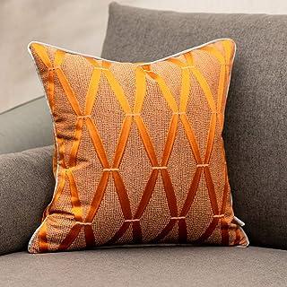 Yangest 18 x 18 Inch Burnt Orange Satin Textured Throw Pillow Cover Diamond Plaid Square Cushion Case Luxury Modern Geomet...