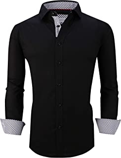 Mens Casual Button Down Shirts Regular Fit Long Sleeve Cotton Dress Shirt