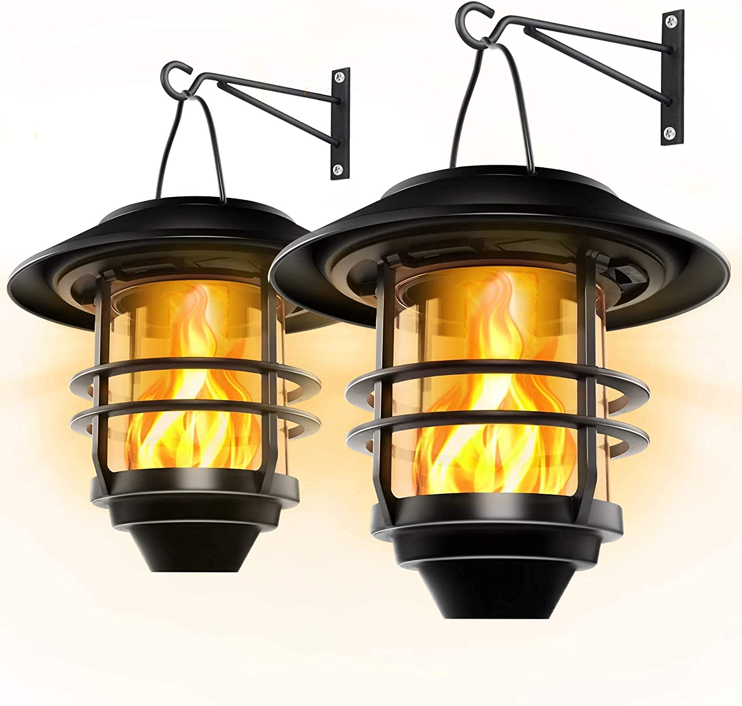 Otdair Solar Wall Lantern Outdoor, Flickering Flames Solar Sconce Lights Outdoor, Hanging Solar Lamps Wall Mount for Front Porch, Patio and Yard, 2 Pack