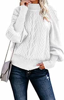 Dokotoo Women Solid Turtleneck Balloon Long Sleeve Sweaters Pullover Outerwear