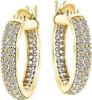 Orecchini a cerchio con diamante naturale bianco per donne e ragazze in argento Sterling 925 (oro 18 carati su argento ste...