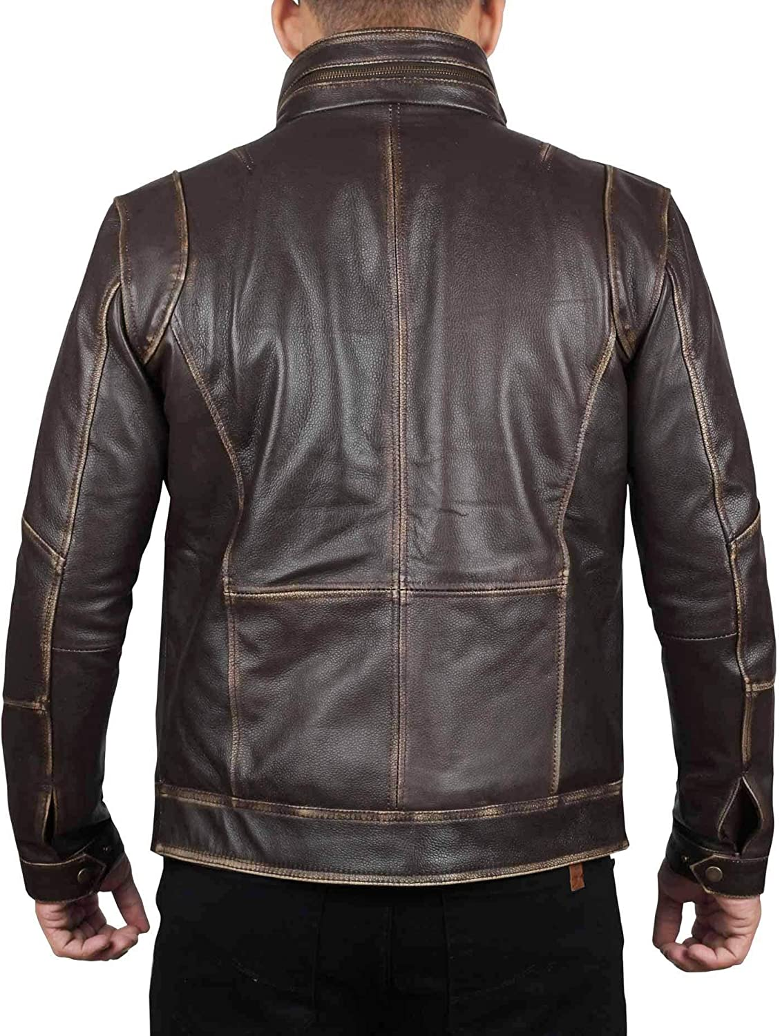 Black and Brown Leather Jacket - Real Lambskin Leather - Mutliple Pockets