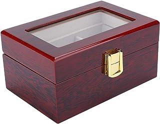 minifinker Träklocka låda (röd) trämaterial klocka förvaringsbox metallgångjärn för klocka bevara förhindra damm speciell ...