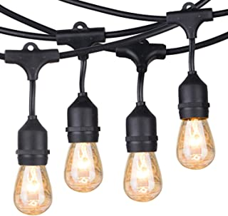 48Ft Outdoor String Lights with 15 Dimmable S14 Edison Bulbs, Commercial Grade Hanging Patio Lights for Deck Backyard Garden Party Decor, Black