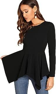 Milumia Women's Tunic Blouse Round Neck Long Sleeve Pullovers Asymmetrical Hem Peplum Tops Shirt