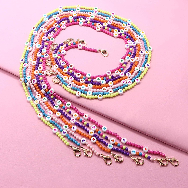 Aerveal Collar con soporte de mascarilla con cadena de cuentas de corazón colorido, cordón para anteojos, protector de orejas, cadena con cuentas de corazón colorido, collar con soporte de mascarilla,