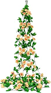 Dedoot Ivy Garland Rose, 6 Pack 98 Inch Each Ivy Artificial Flowers Vine Garland Fake Silk Roses Flowers Hanging Rose Ivy Plants for Wedding Party Home Garden Wall Decor, Champagne