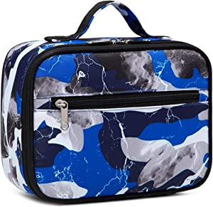 BLUEFAIRY Kids Insulated Lunch Box Bags for Girls Camouflage Lunchboxes for Boys Outdoor Camping Food Cooler Carrier (Blue Camo)