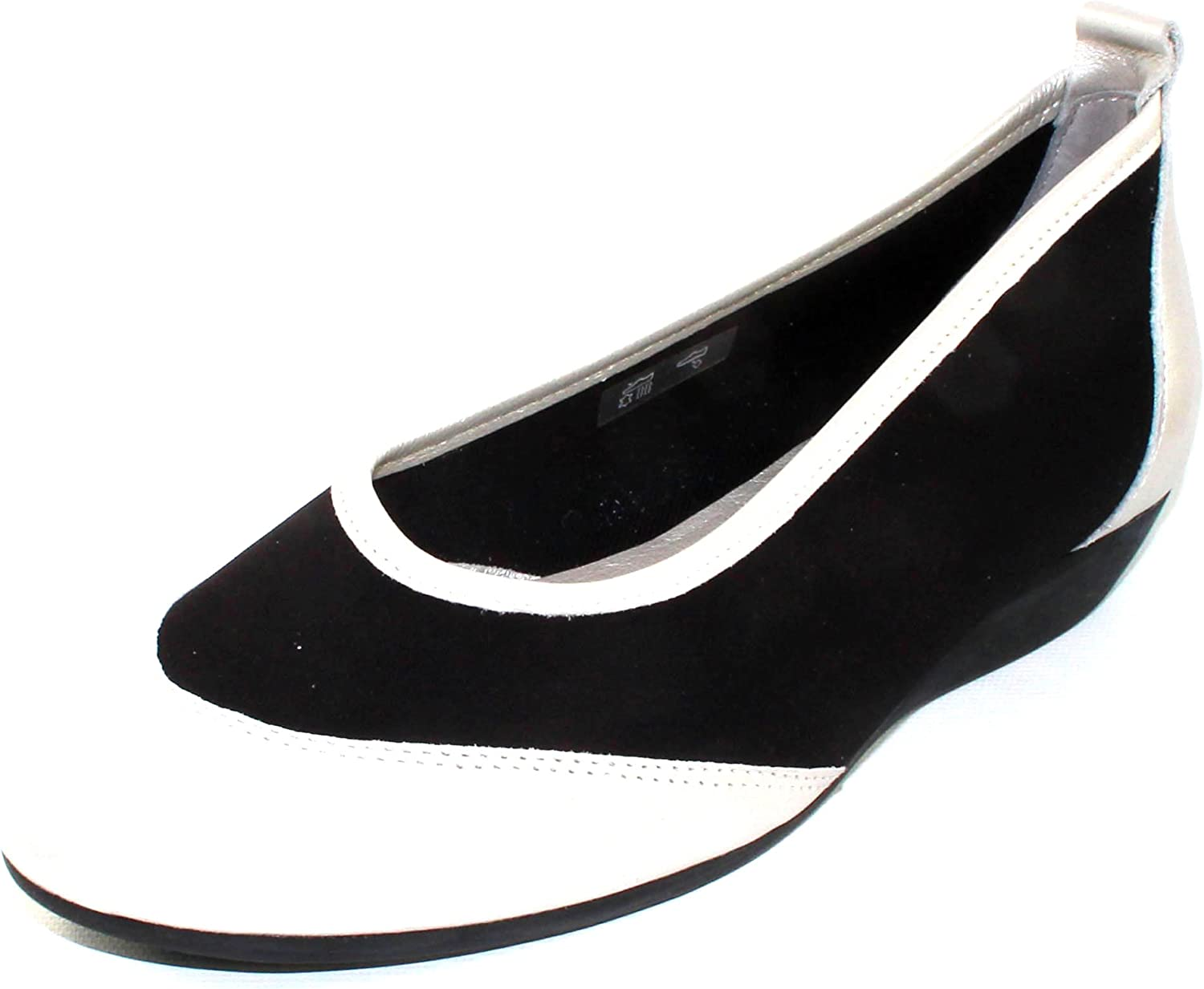 Arche Women's Oneo in silver trappeur Metal Pearlized Leather Black Stretch Microfiber - Off White - Size 38 M