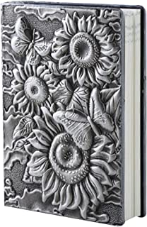 Sunflower Hardcover Lined A5 Composition Notebook Personal Writing Travel Journal Daily Diary 100 Sheets Study Bible Notebook Silver