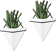 Set of 2 - Large Wall Hanging Planter Indoor Decor Geometric Wall Decor Wall Planter, Indoor Ceramic Planter Succulent Pla...
