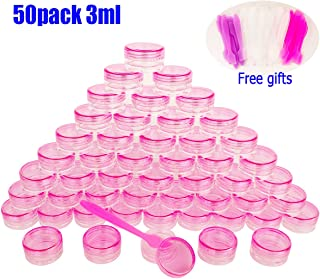 50pcs, 3g 3ml Small Jars, BPA free, Cosmetic Sample Empty Plastic Container, Round Pot PINK Screw Cap Lid, for Makeup, Eye Shadow, Nails, Powder, Jewelry, Gems, Beads, Free 50x Dispensing Spatulas