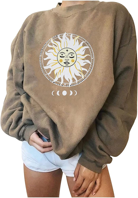 MASZONE Oversized Sweatshirt for Women Trendy Geometric Print O-Neck Long Sleeves Pullover hoodies Casual Plus Size Tops