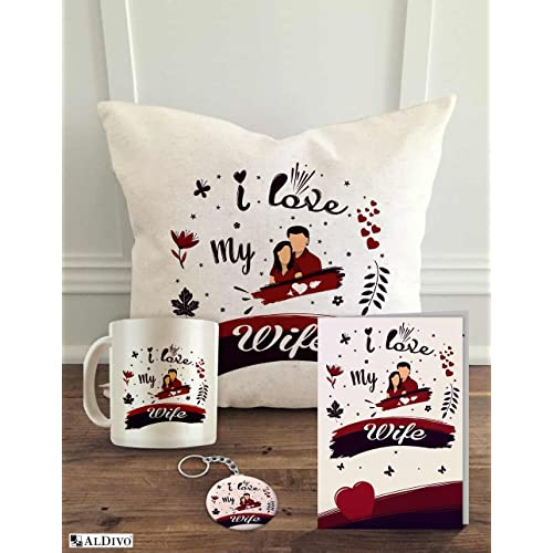 "ALDIVO Satin Cushion Cover with Filler ,Printed Mug ,Greeting Card,Printed Key Ring Set Combo - 12"" x 12"" White"