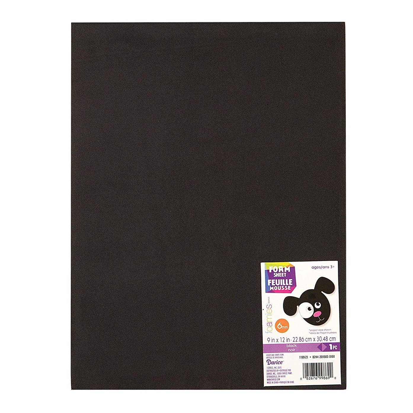 Darice Bulk Buy DIY Foamies Extra Thick Foam Sheet Black 6mm Thick 9 x 12 inches (10-Pack) 1199-21