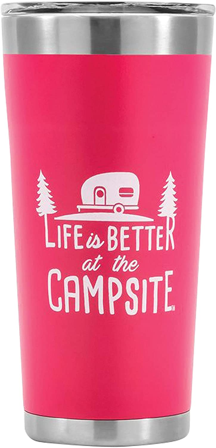 Camco Life is Better at The Campsite Stainless Steel 20 oz. Tumbler with Double Wall Insulation - Leak Proof Lid, Won't Sweat, Great For Hot and Cold Drinks - Coral Pink (53061) : Home & Kitchen