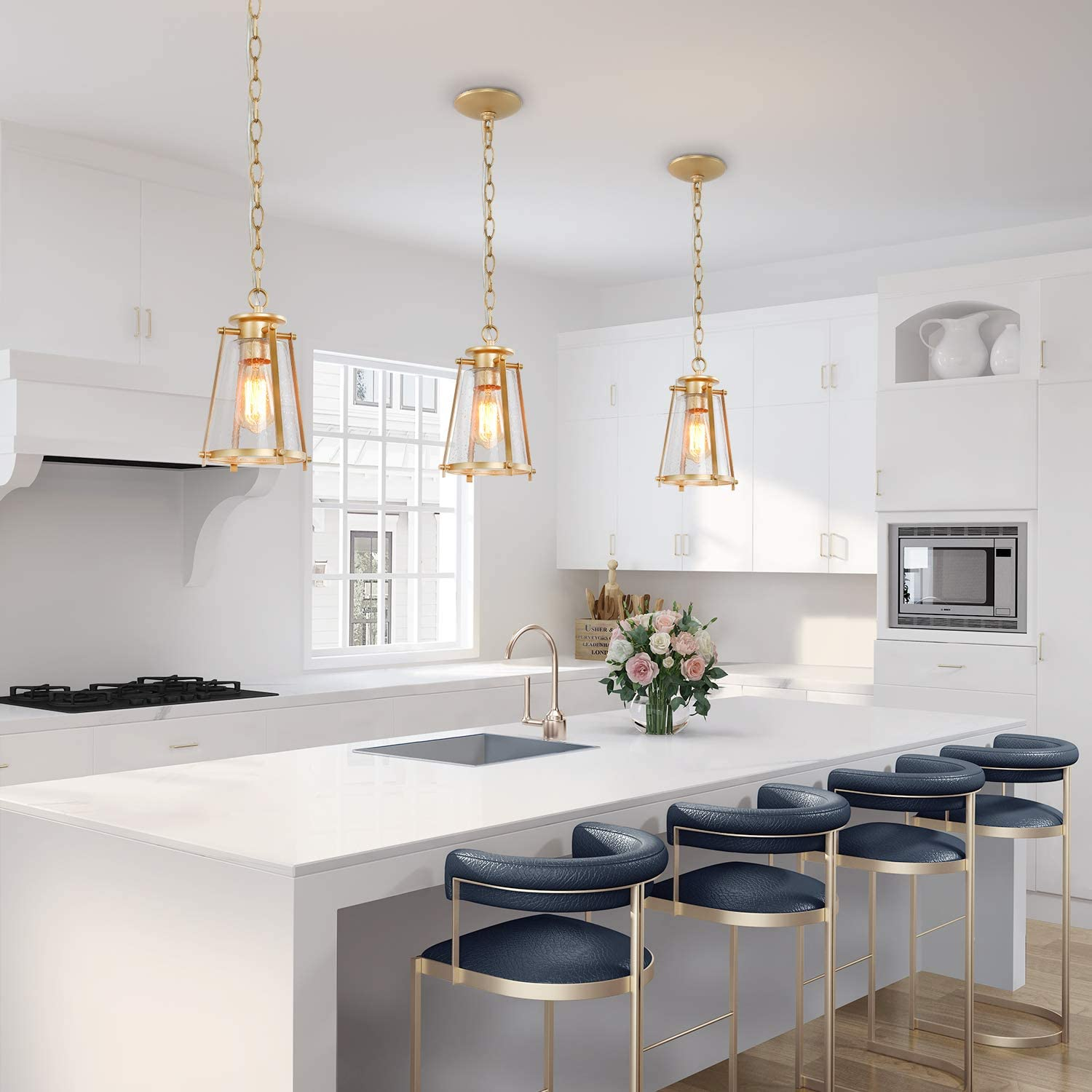 Buy Ksana Gold Pendant Lighting For Kitchen Island Hanging Brass Light Fixtures With Seeded Glass For Dining Room Foyer Online In Indonesia B07ythtm5s