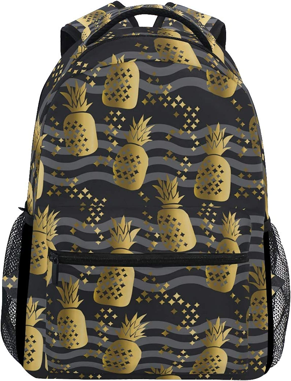 gold Pineapple Party Trekking Backpack Fashion Backpack Oversized Backpack Men and Women Durable Travel Computer Backpack 17 Inch Notebook Waterproof Large Business Bag