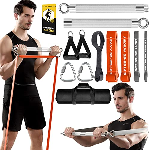 wholesale TESLANG Resistance Band Bar, popular 500 LBS Load Strength popular Training Bar with 4 Heavy Resistance Bands with Bar for Chest Press Deadlift Squats Curl, Workout Bands with Handles, Portable Home Workout Equipment outlet online sale