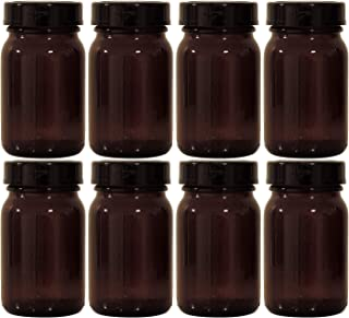 Viva Haushaltswaren Brown Pharmacy Glass Set 8 x 200 ml Including Screw Cap and Labels Made in Germany